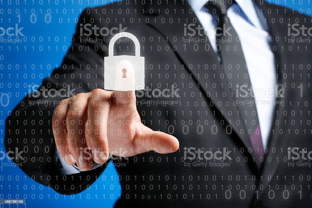 Security Concept on Interface Touch Screen stock photo