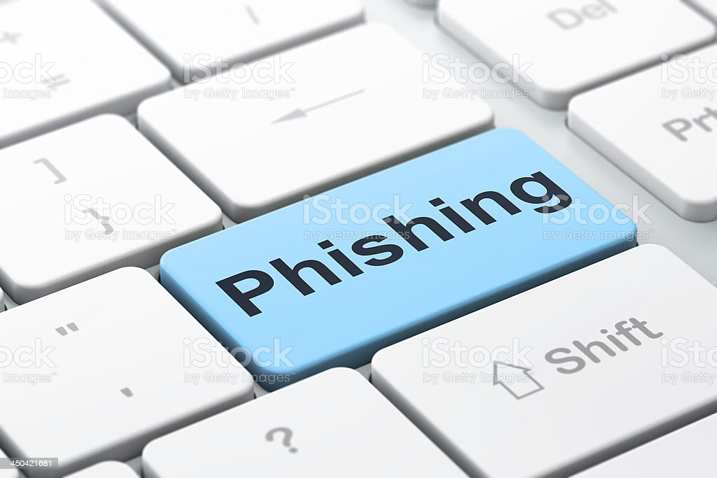 Security concept: Phishing on computer keyboard background stock photo