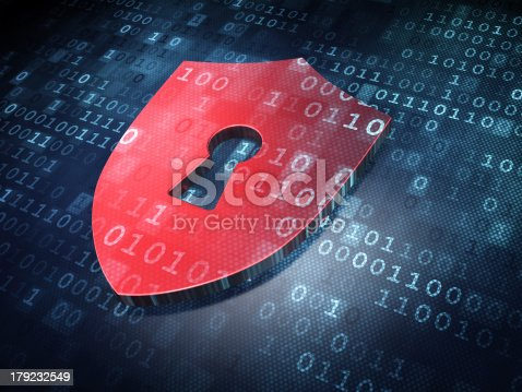 istock Security concept: Red Shield With Keyhole on digital background 179232549