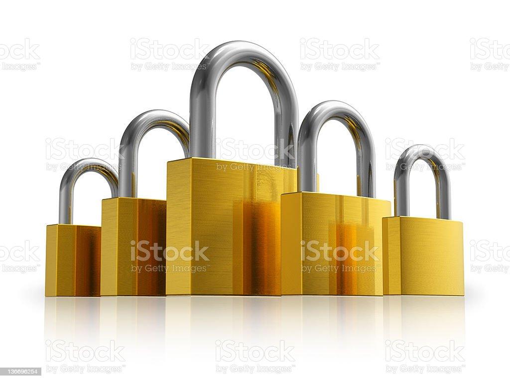 Security concept: set of metal padlocks royalty-free stock photo
