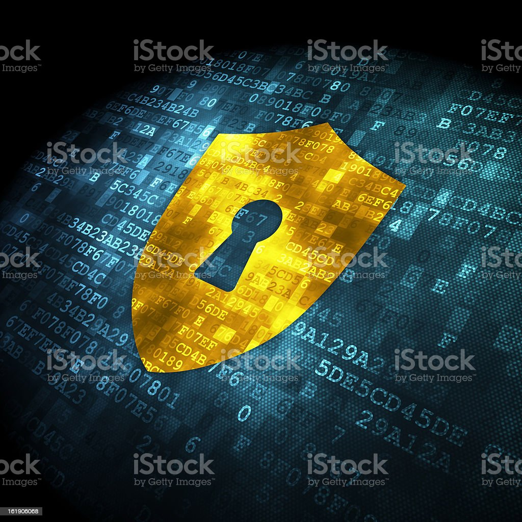 Security concept: shield with keyhole on digital background stock photo