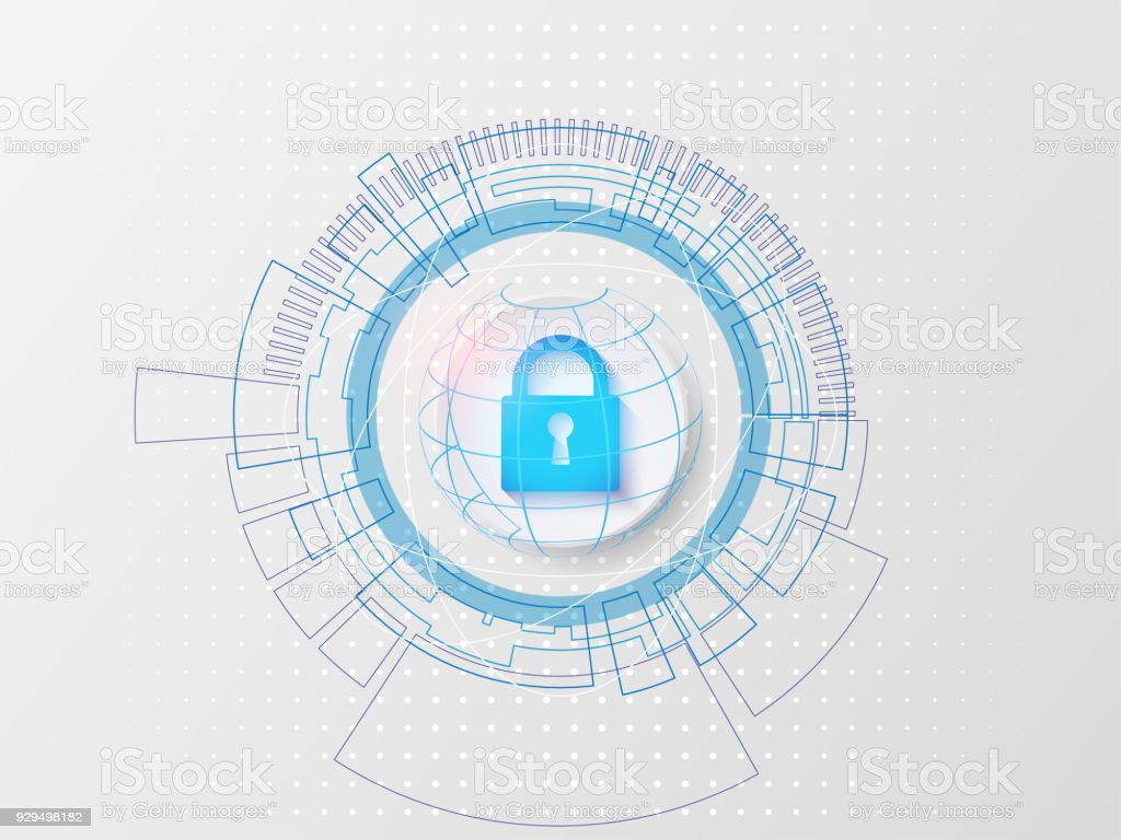 Security concept The advanced technology on a white background stock photo