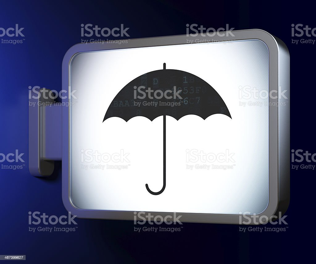 Security concept: Umbrella on billboard background royalty-free stock photo
