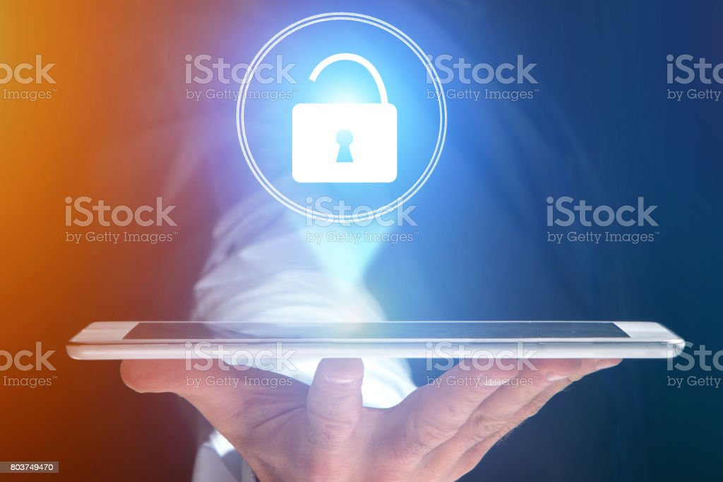Security concept with a locker open on an internet application - technology concept stock photo