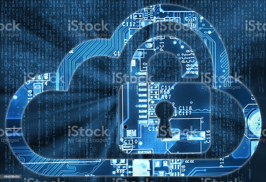 Security concept with cloud and lock in electronic circuit stock photo