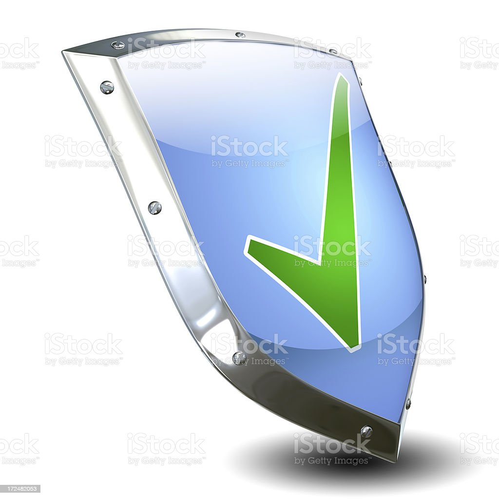 Security concept with shield - isolated on white (clipping path) royalty-free stock photo