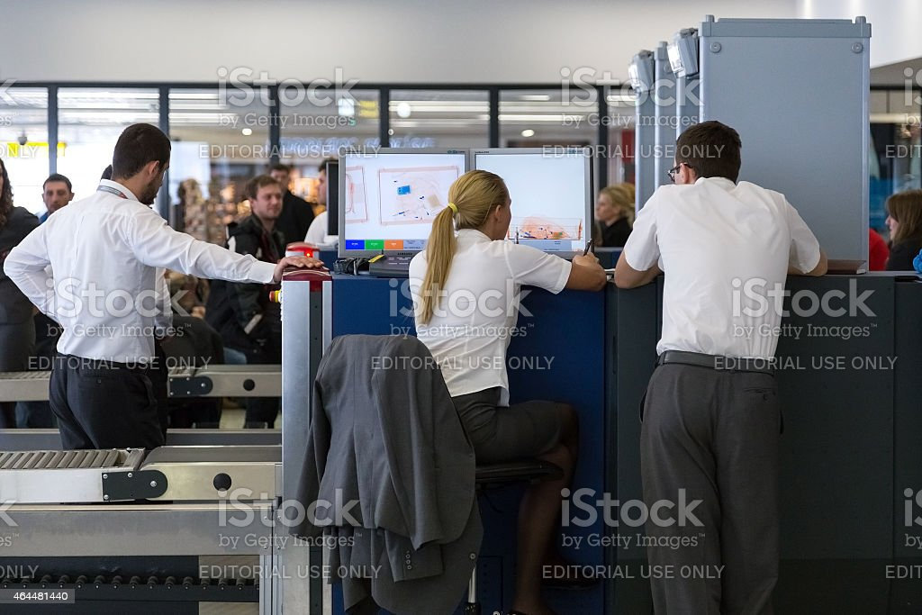 Security control point at the Belgrade airport Nikola Tesla stock photo