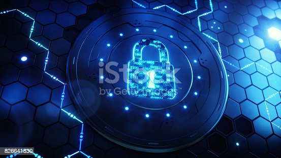 istock Security Device With Encoded Padlock 826641830