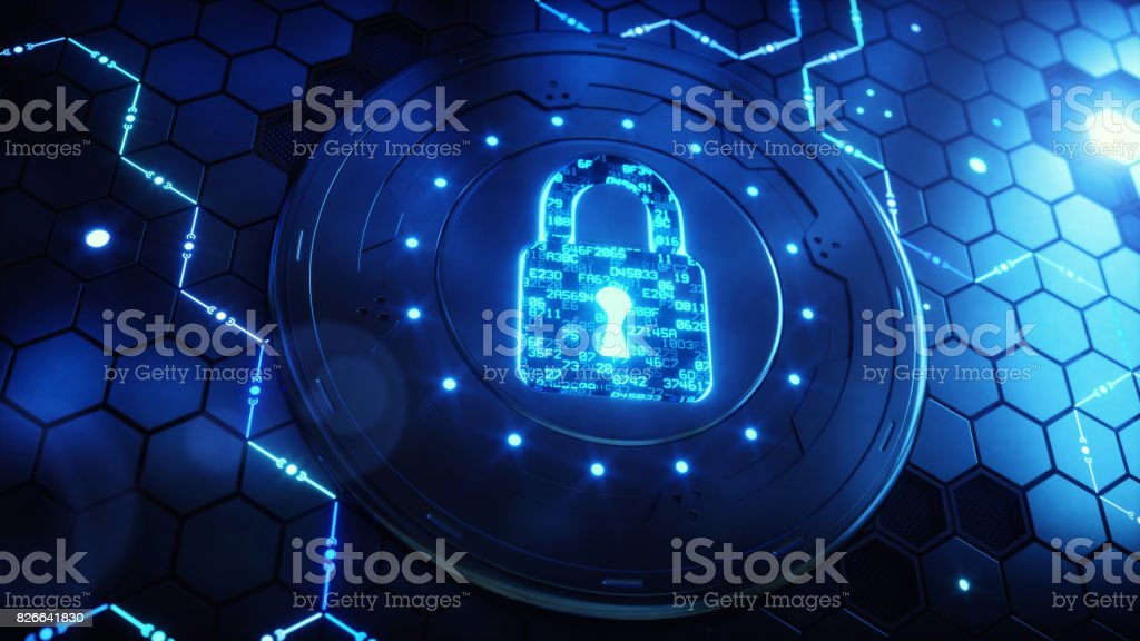 Security Device With Encoded Padlock stock photo