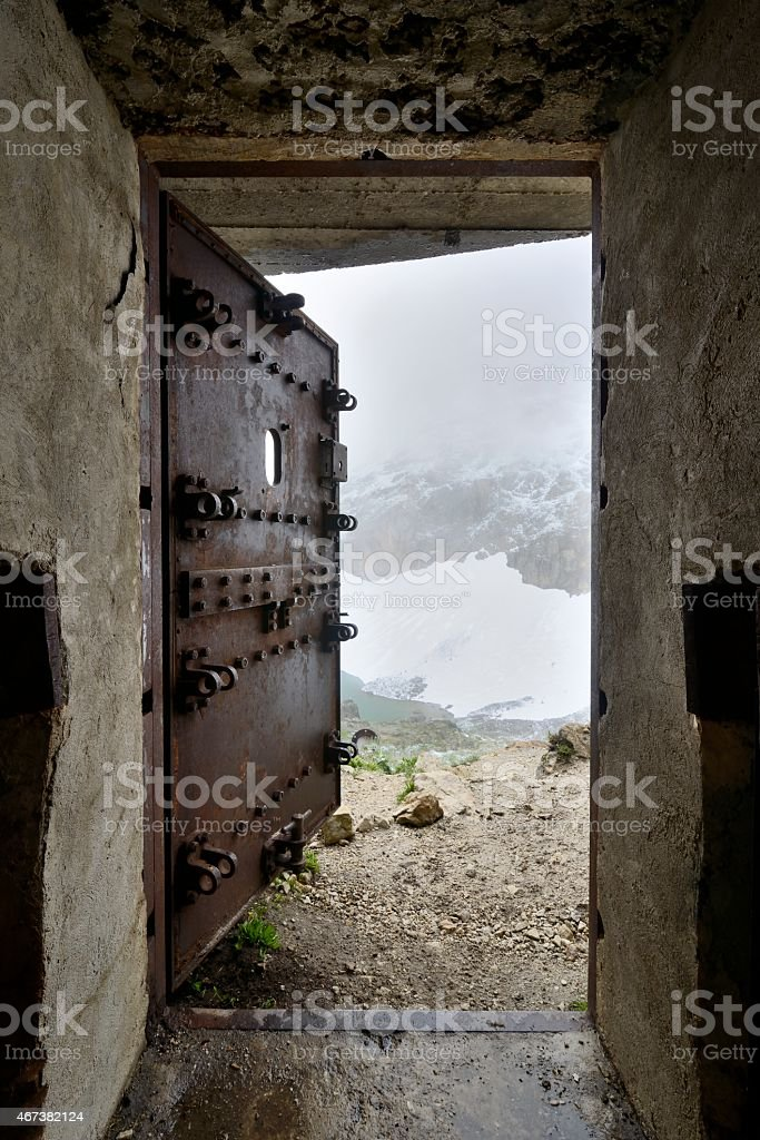 Security door of a bunker stock photo