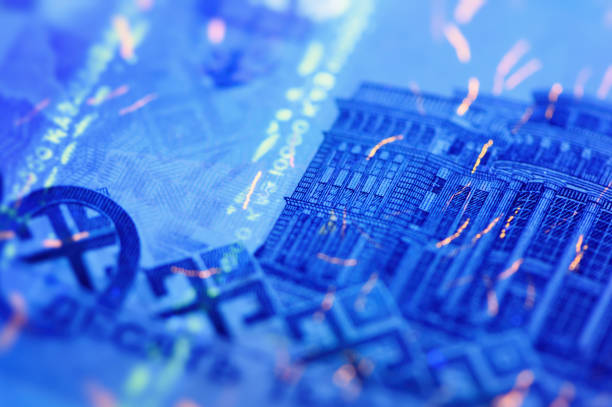 security features on banknote in uv light protection, abstract background of money - watermark stock photos and pictures