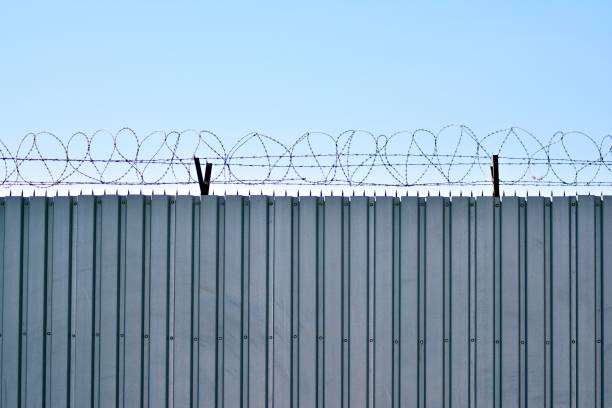 Security fence of an international airport stock photo