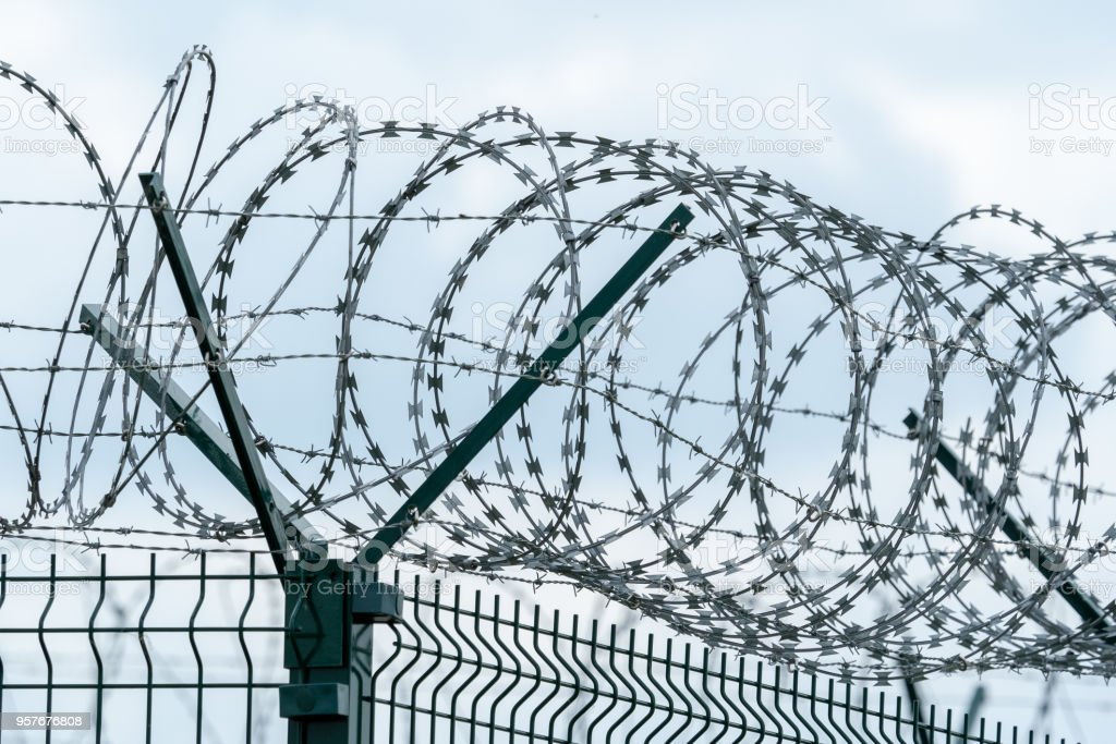 Security fence with a barbed wire. Fence with a barbed wire. stock photo
