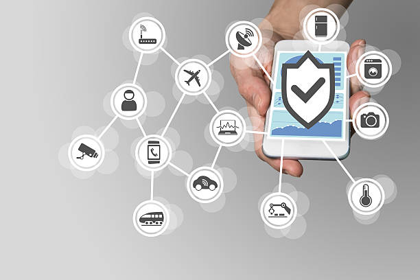 Security for Internet of Things concept to secure mobile devices stock photo