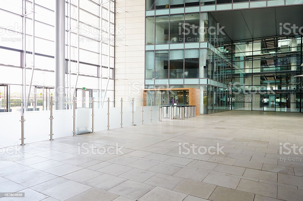 Security gates in the lobby of a large corporate business stock photo