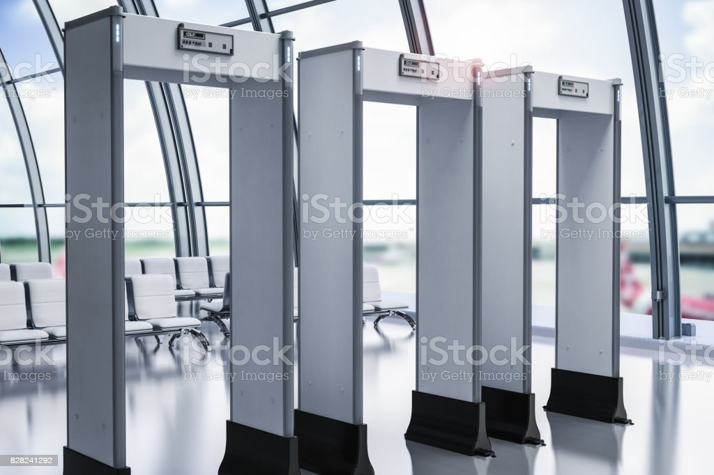 security gates or metal detectors in airport stock photo