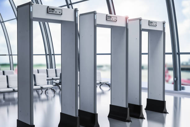 security gates or metal detectors in airport 3d rendering security gates or metal detectors in airport security barrier stock pictures, royalty-free photos & images