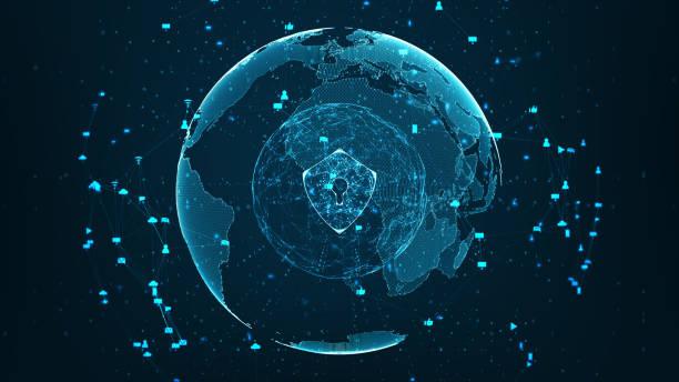 rede global de segurança - computador cadeado - fotografias e filmes do acervo
