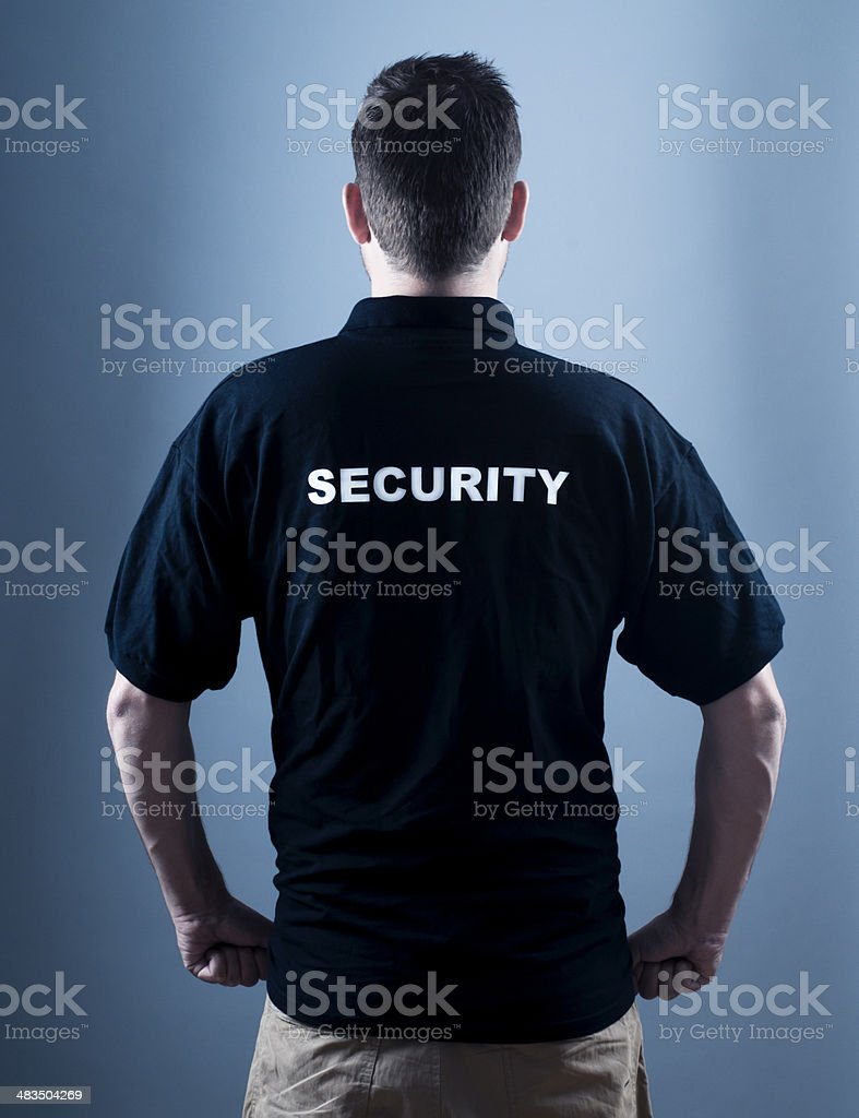 Security guard alone in the dark royalty-free stock photo