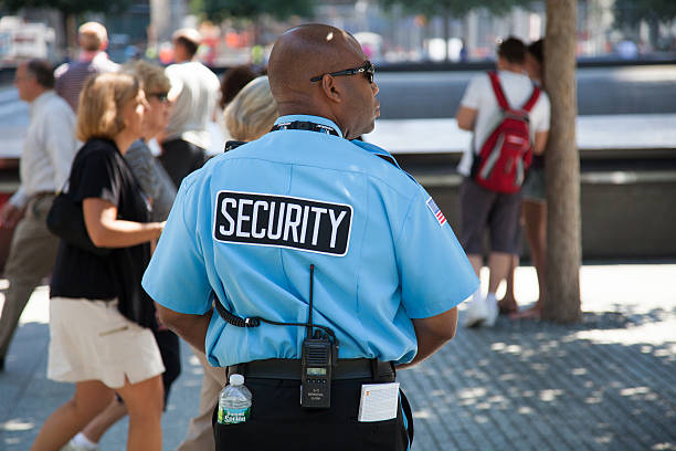 Security guard at 9/11 memorial stock photo