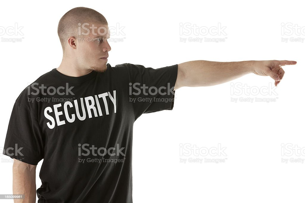 Security guard pointing stock photo