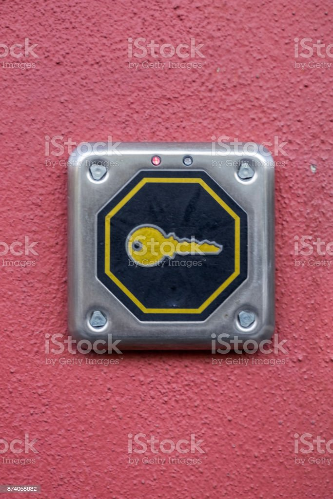 Security Keycard Reader On A Red Wall Stock Photo - Download
