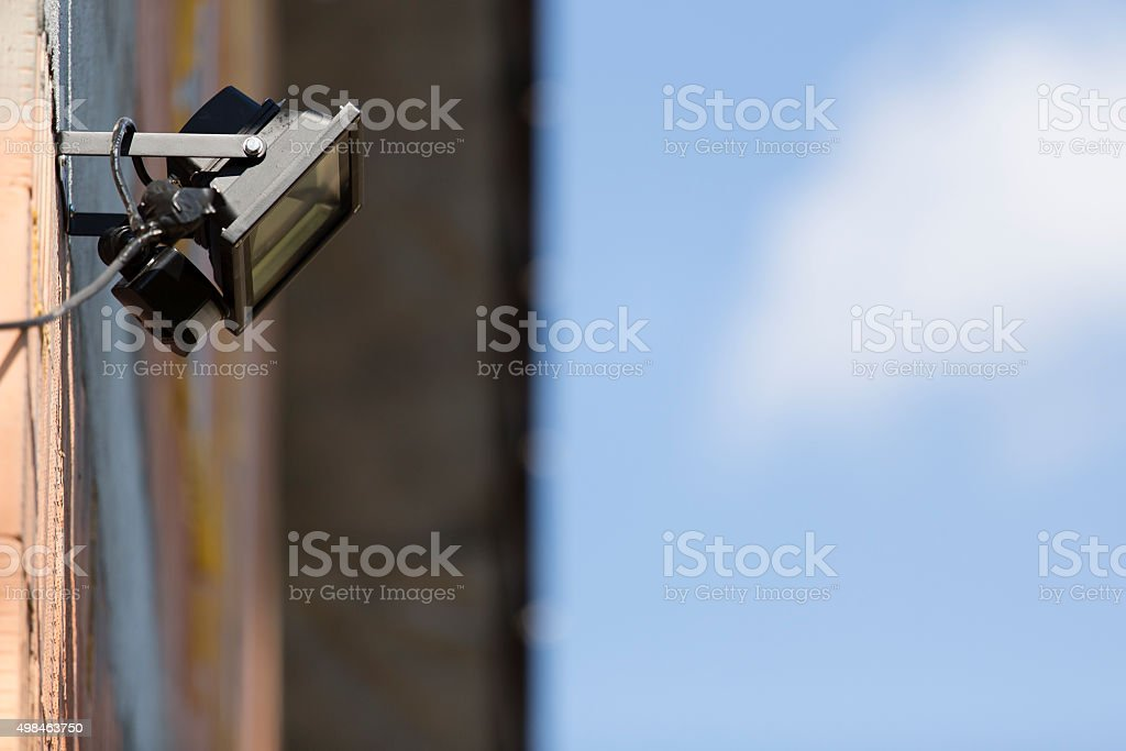 security led light with motion dectector or sensor on wall stock photo