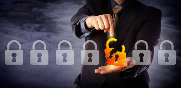 Security Manager Identifying Cyber Attack stock photo