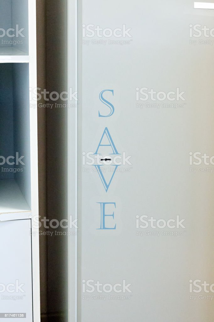 Security metal safe with empty space inside stock photo