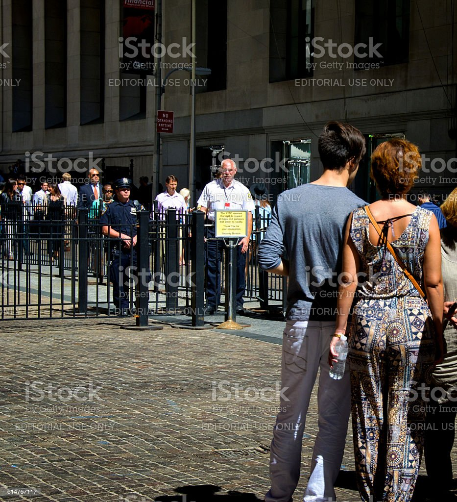 NYPD, Security Officer, New York Stock Exchange Entrance, Manhattan, NYC stock photo
