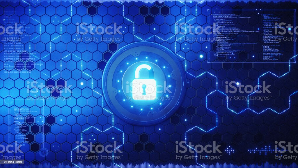 Security Padlock Concept With Blue Infographics stock photo