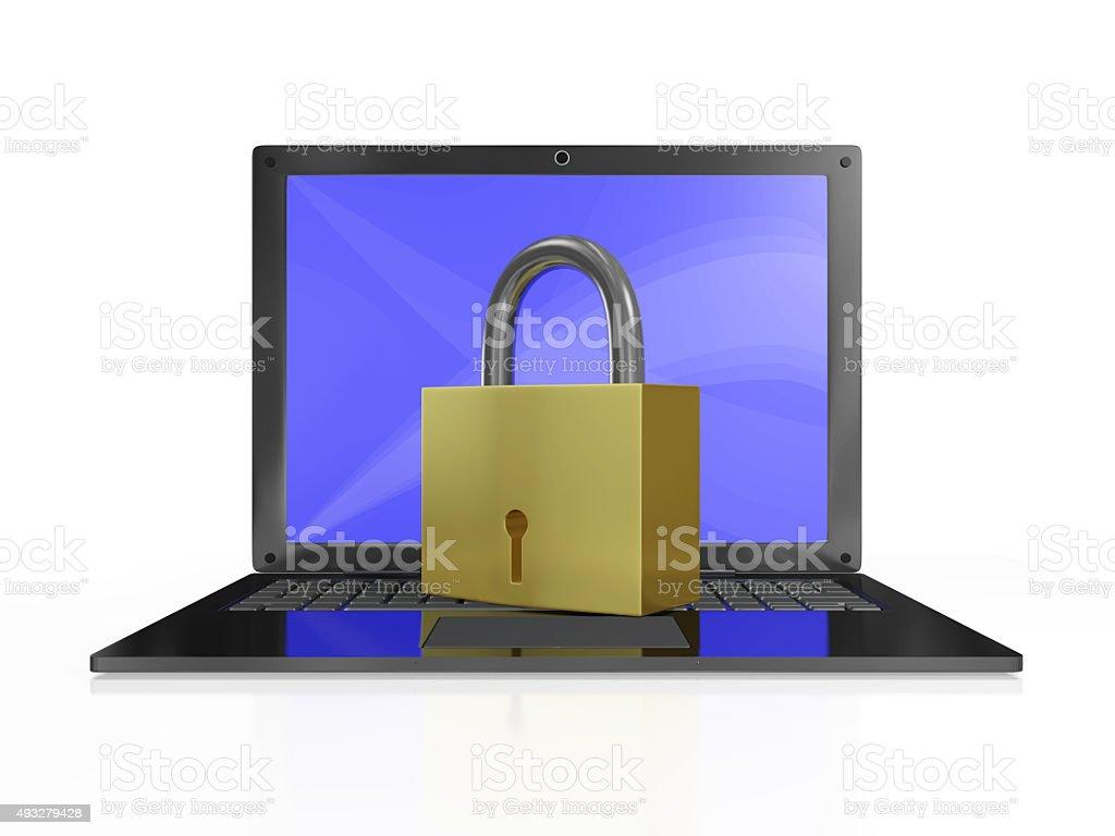 Security Padlock on Laptop Computer stock photo