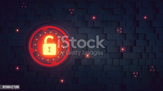 A wallpaper design of an unlocked security mechanism integrated into a wall of randomly protruding cubes. The padlock is glowing in yellow color and the surface has some sparse lights shining out. This image represents an abstract design in the domain of security, cyber-crime, IT, encryption or similar technology. The image is a made up 3D concept render.