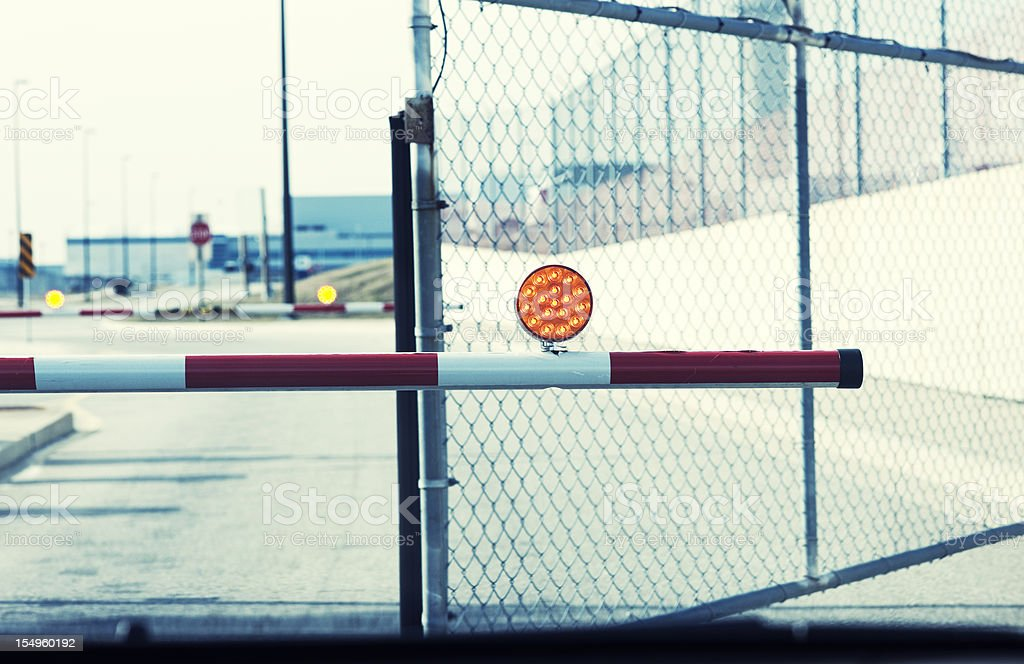 Security Parking Gate Opening, Orange Reflector stock photo