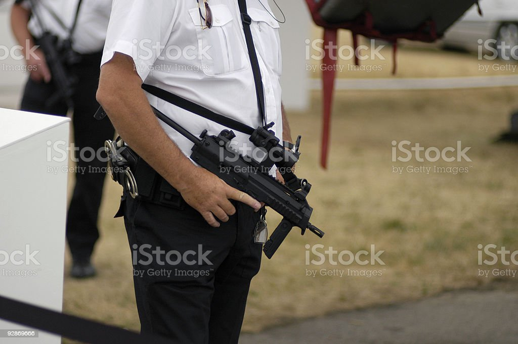 Security Patrol with guns stock photo