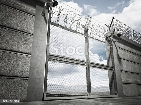 3d image of security border line gate with razor wire