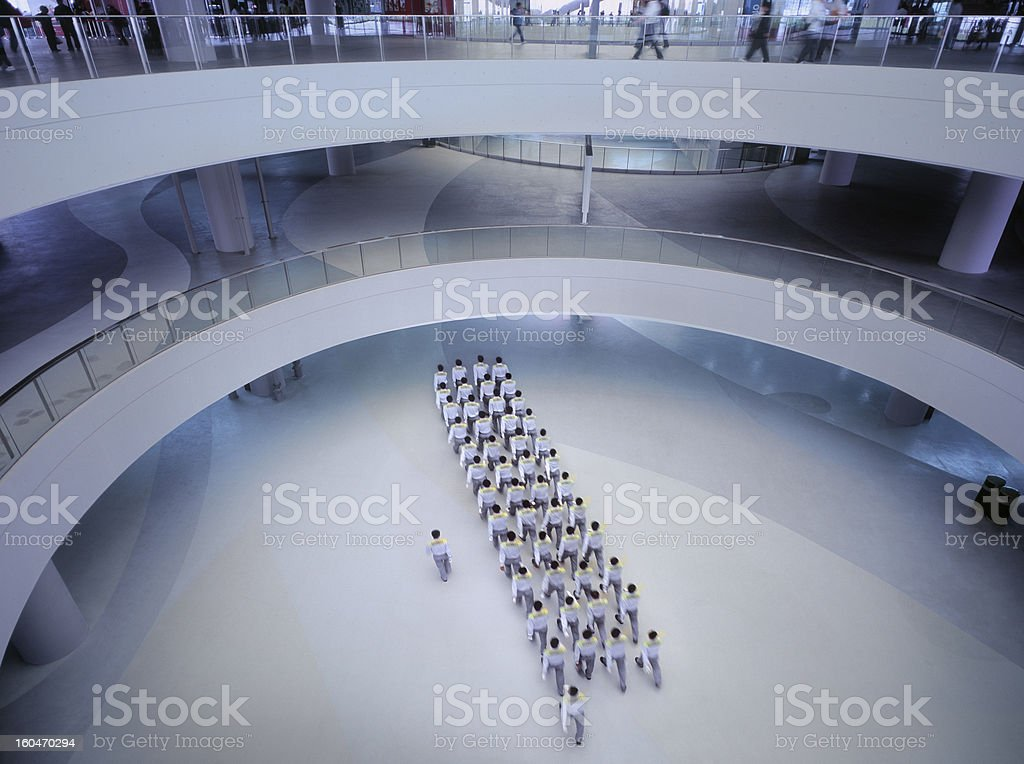 Security platoon marching towards destination in Shanghai stock photo