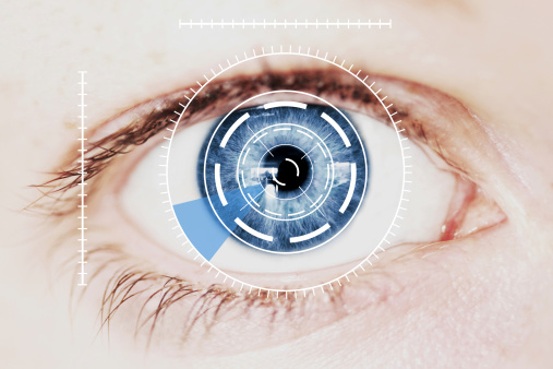 Retina Escáner De Seguridad En Azul Intensa De Ojo Humano Foto de stock y más banco de imágenes de Abstracto