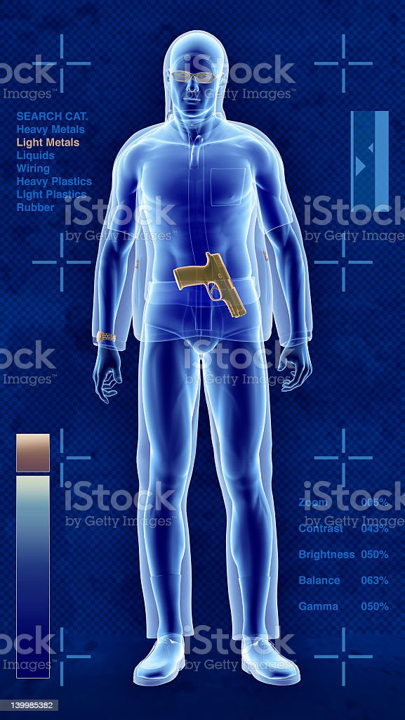 A security scan of a man showing a weapon royalty-free stock photo