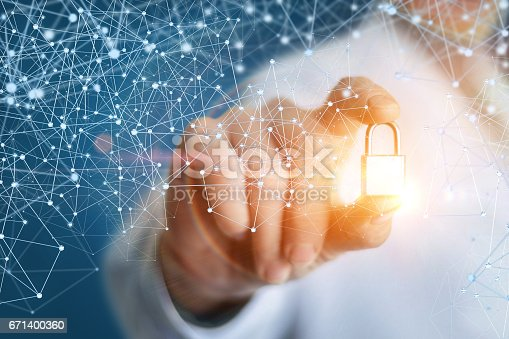istock Security sign in the hand of the engineer. 671400360
