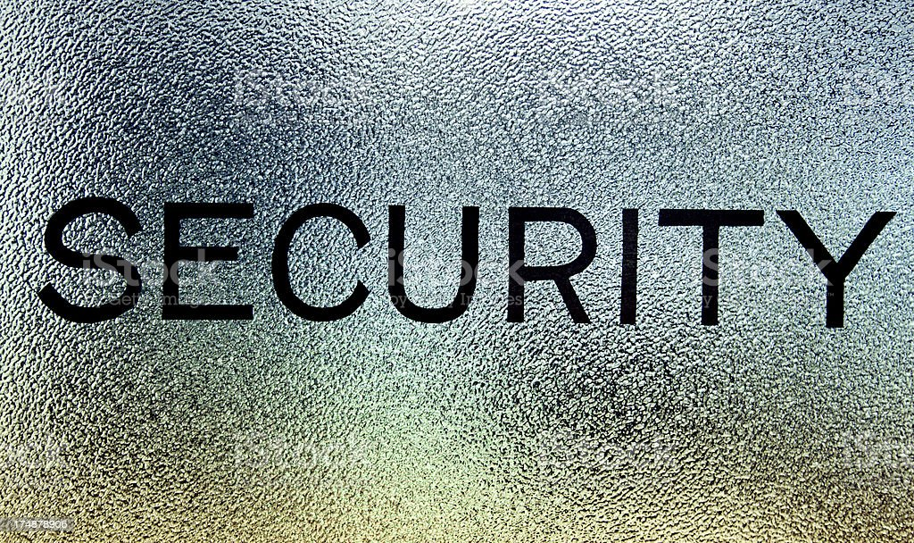 Security Sign on Frosted Glass royalty-free stock photo