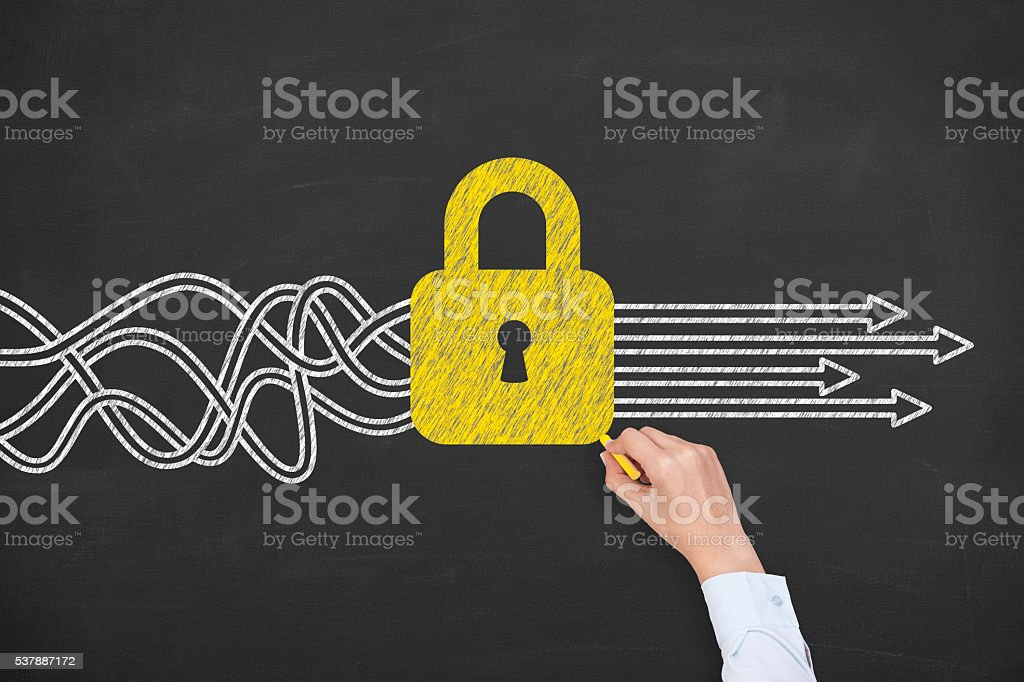 Security Solution Concept on Chalkboard stock photo