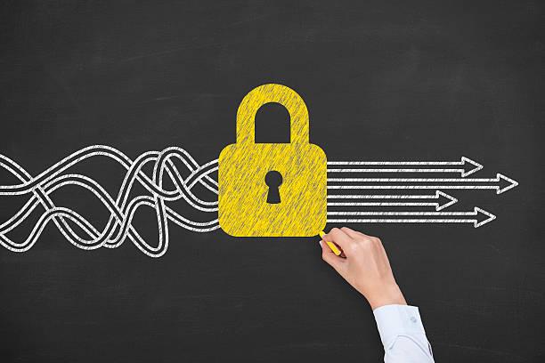 lavagna soluzione concetto di sicurezza - fare la guardia foto e immagini stock