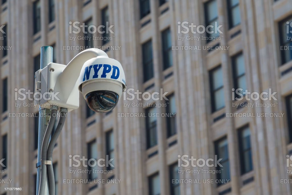 NYPD CCTV Security Surveillance camera, Lower Manhattan, NYC royalty-free stock photo
