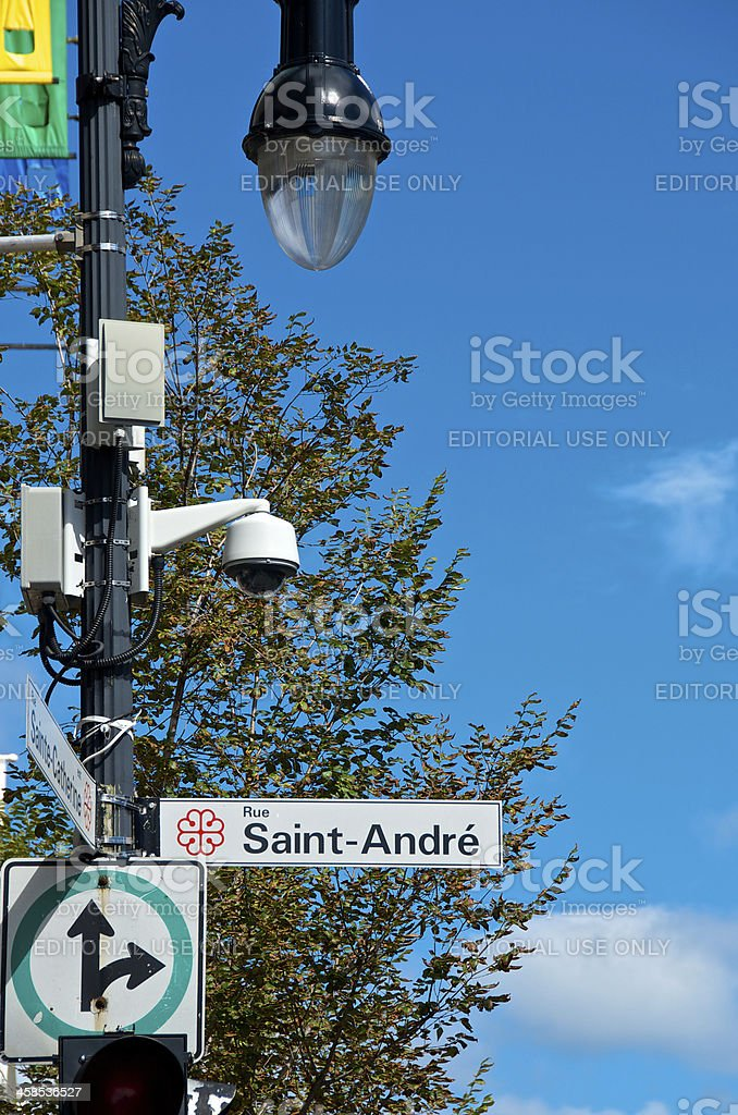 CCTV Security Surveillance Camera on Lamppost, Montreal, Quebec, Canada royalty-free stock photo