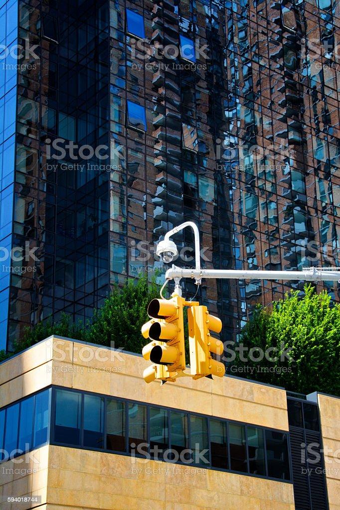 CCTV Security Surveillance camera on traffic signal device, Manhattan, NYC stock photo
