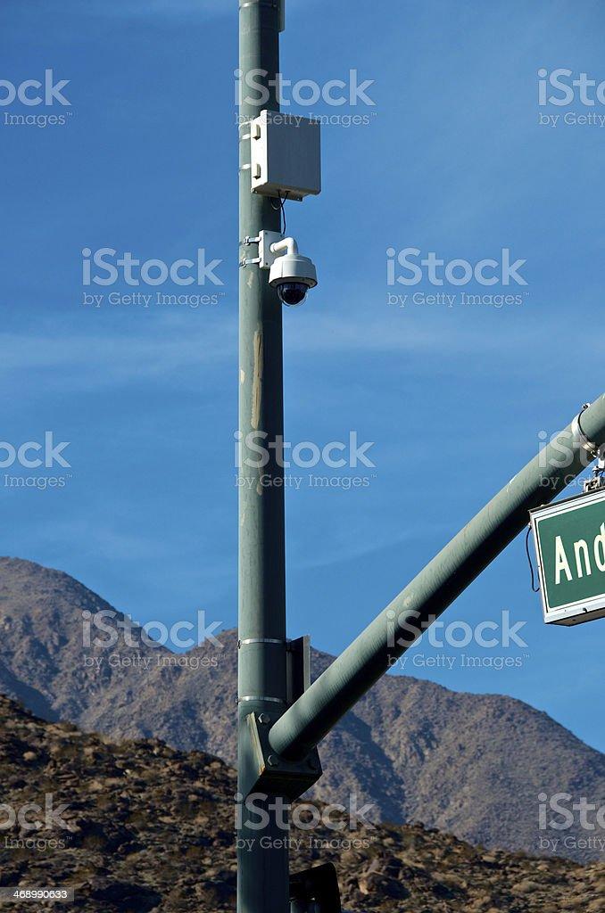 CCTV Security Surveillance camera, street lamppost, Palm Springs, California, USA royalty-free stock photo