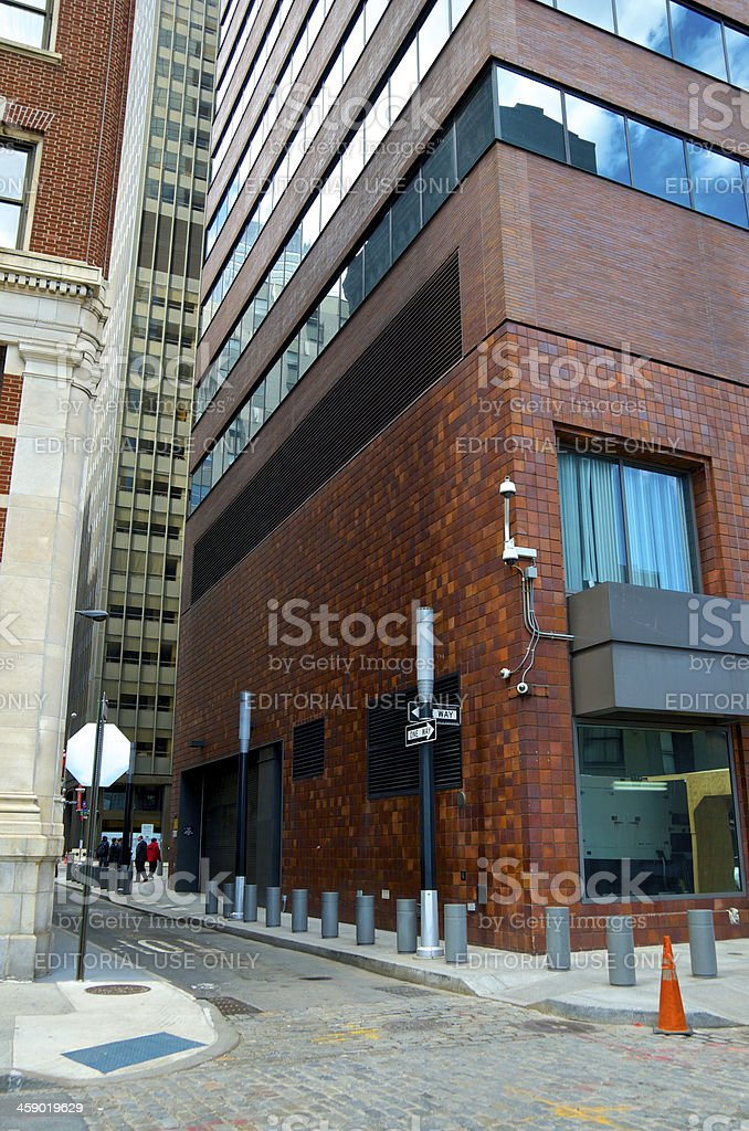 CCTV Security Surveillance cameras, Manhattan Financial District, NYC royalty-free stock photo