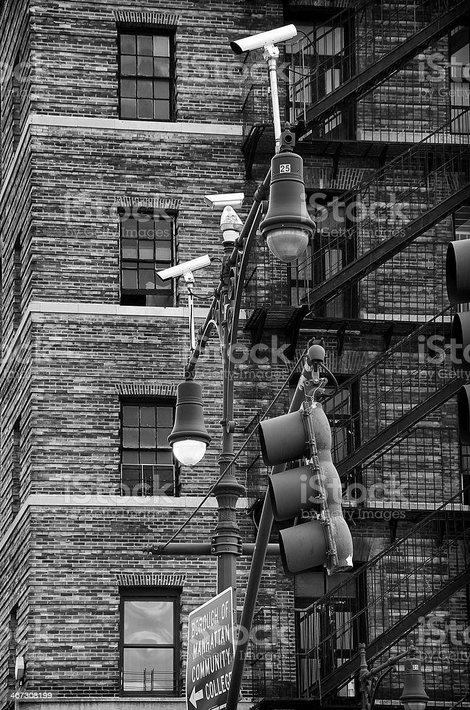 CCTV Security Surveillance cameras street lampposts, Manhattan, NYC royalty-free stock photo