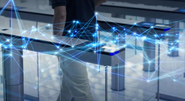 オフィスビルコンセプトのセキュリティシステム。通信ネットワーク。 - 門 ストックフォトと画像